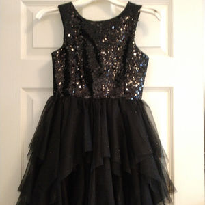 Girl's black sequin party dress